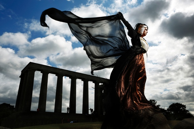 Rita Grebe on Calton Hill, Edinburgh 2014 shot by Murdo Macleod for the Guardian